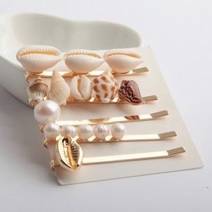 5 Pearl and Seashells Gold Hairpin Set.  Brand new